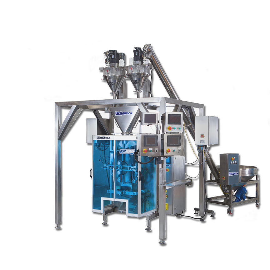 Dual auger filling system for mixing product into packaging machine