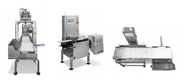 Automatic check weighing machine for packaging and manufacturing machine automation