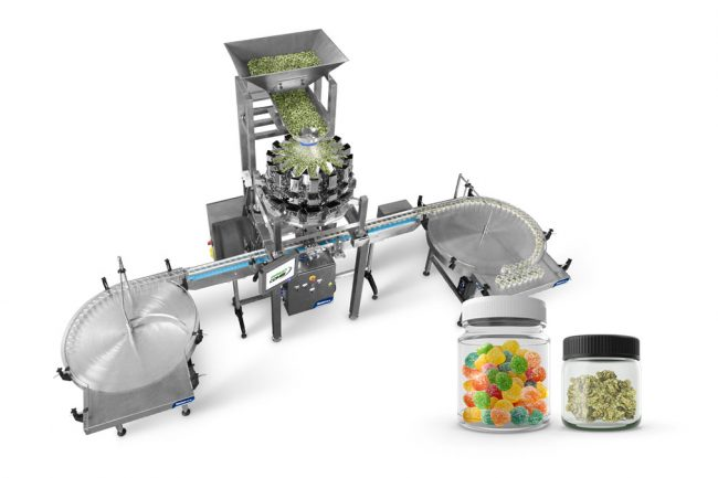 Cannabis jar filling machine