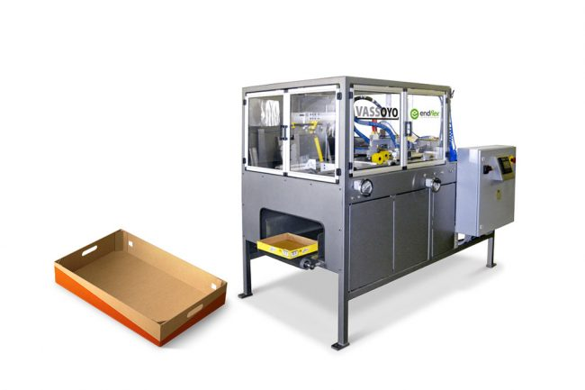 corrugated tray forming machine with example end tray