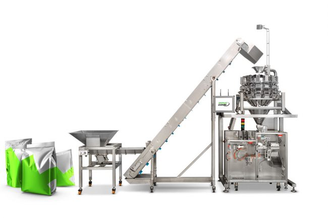 Cannabis retail pouch filling automating packaging machinery